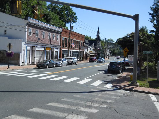 Stafford Springs, CT: view of Main Street from Middle Ground Café