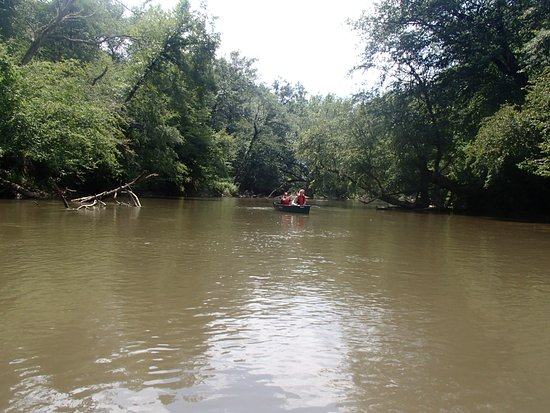 Horse Shoe, NC: French Broad - 2 Lazy Otters in canoe - about half way there!