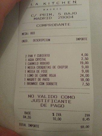 La Kitchen : La cuenta, acorde con el precio medio.