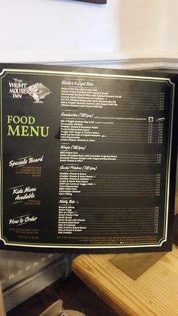 Chale, UK: The Wight Mouse Inn Menu