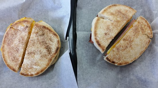 Harrisburg, NC: Egg Sandwiches on a toasted English Muffin – huge and delicious!