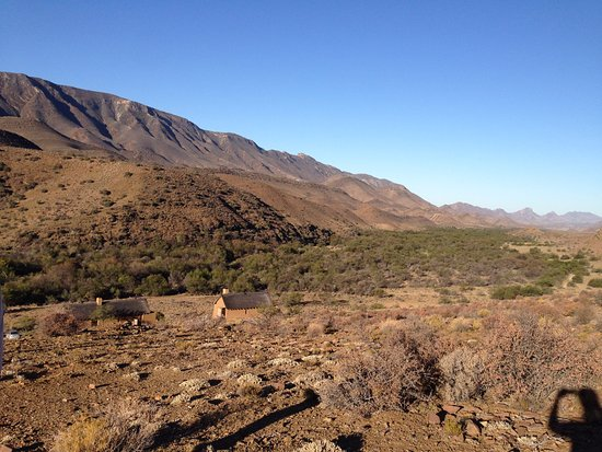 Ladismith, Sudáfrica: The little thatched cottages are the 'hotel rooms'