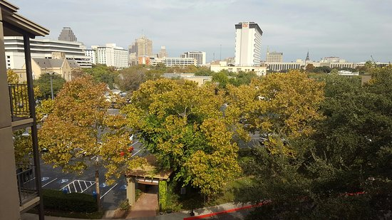 Marriott Plaza San Antonio: front of the hotel towards parking lot; view from 5th floor