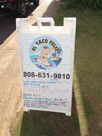 Happy Taco - El Taco Feliz : Look for this sign