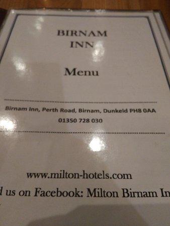 Birnam, UK: Menu
