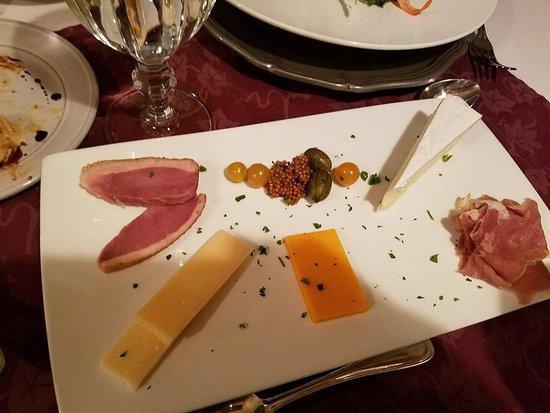 Valle Crucis, NC: Meat and Cheese Platter, Duck, pickled mustard seed, brie, etc