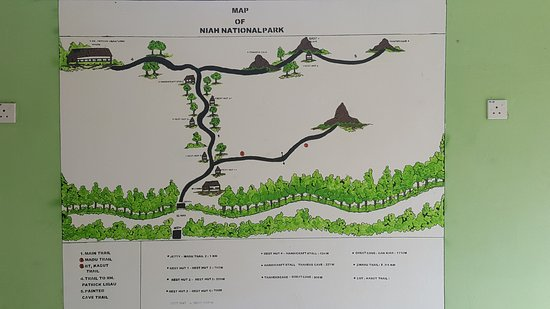 The map of the National Park Picture of Niah National Park Miri