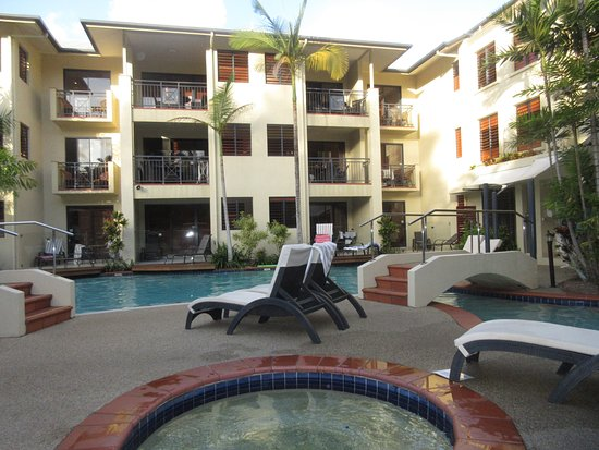 Meridian Port Douglas: view from barbecue/hot tub looking at rooms
