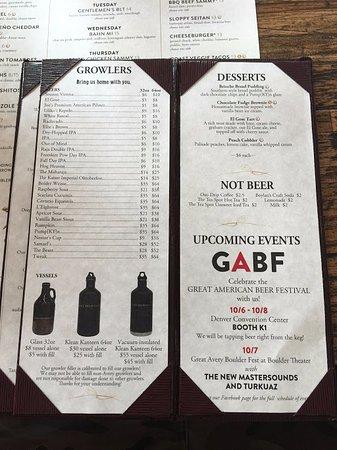 Boulder, Colorado: Beer menu