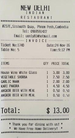 My bill  - Picture of New Delhi Indian Restaurant, Phnom