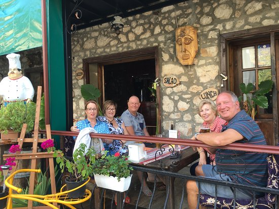 Uzumlu, Turkey: our group sat outside The Wine House