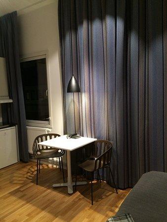 Kista, Sweden: Kitchen area in single studio