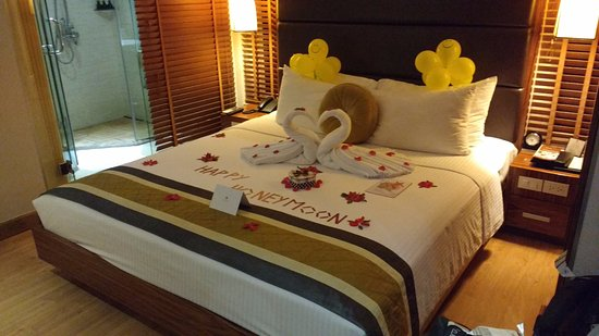 Hanoi Elite Hotel: Our room with lovely honeymoon surprise decoration