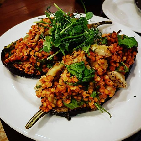 Creaton, UK: Baked aubergine stuffed with tomatoes, lent8ks, fresh spinach and herbs