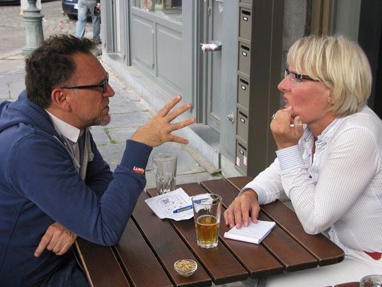 Speaking with Theo, the co-owner of Downtown-BXL at Moeder Lambac just outside the B&B.