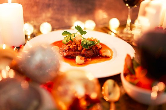 Heswall, UK: Slow cooked beef daube in a pepercorn sauce and red wine sauce with potato gnocci
