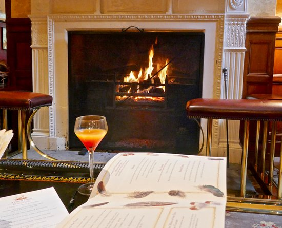 Hambleton, UK: An aperitif before a roaring fire.