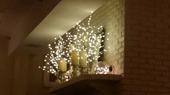 Ocean House Fireplace Mantel With Holiday Lights Picture