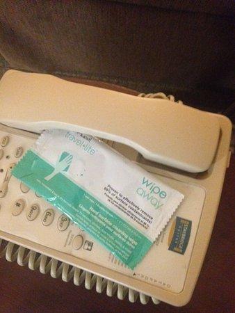 West Seneca, Estado de Nueva York: Sanitizing wipes for phone/remote - love the detail!