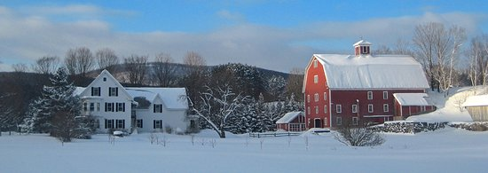 Woodstock, VT: Farmhouse and barn from hayfield