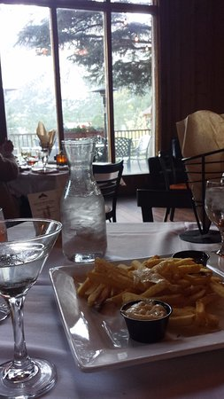 Nathrop, CO: View from inside the restaurant looking out toward the chalk cliffs.
