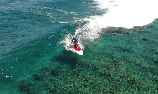 Plantation Island Resort: SUP Surfing off Namotu, a 15 minute boat ride from the resort