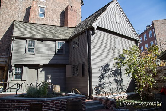 The Paul Revere House: Exterior view of the house from the court yard.