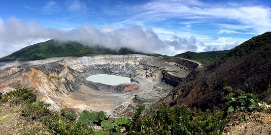 Poas Volcano National Park, Costa Rica: Poas Volcano Crater on a clear day.