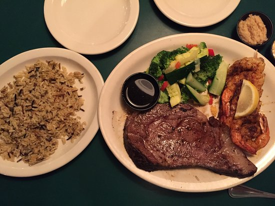 Austin's Cattle Company: The prime rib and seasoned grilled shrimp and the half rack baby back rib dinner. Prime rib was