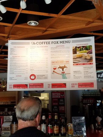 menu from front door picture of the coffee fox savannah tripadvisor