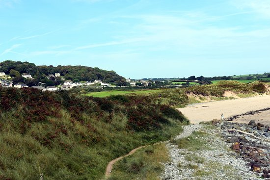 Pembrokeshire Coast National Trail Marker: Looking back to Tenby