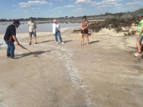 Denmark, Australia: Stick Drawing demonstration at the Lake of Many Colours