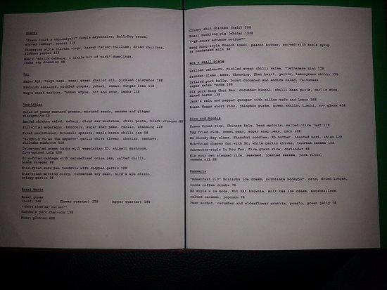 Ho Lee Fook: Original menu