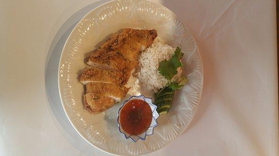 Frankston, Australia: Fried herbal chicken with sticky rice
