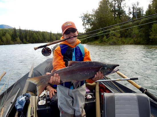 Cooper Landing, AK: 10 year olds sons first salmon