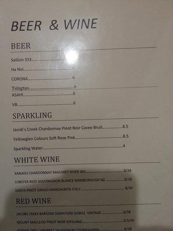 Box Hill, Austrália: Drinks menu November 2016