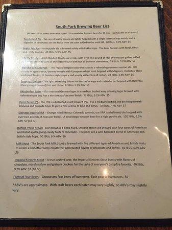 Fairplay, CO: Beer menu