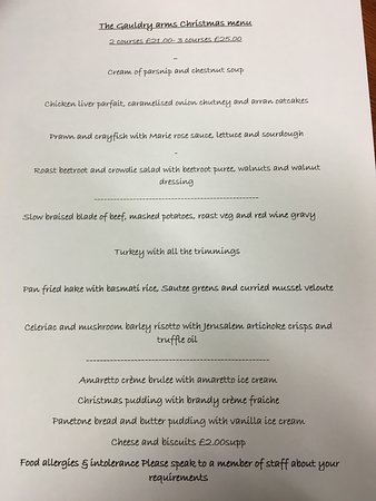 Newport-on-Tay, UK: December menu