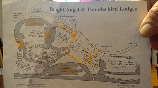Bright Angel Lodge U0026 Thunderbird Lodge Map