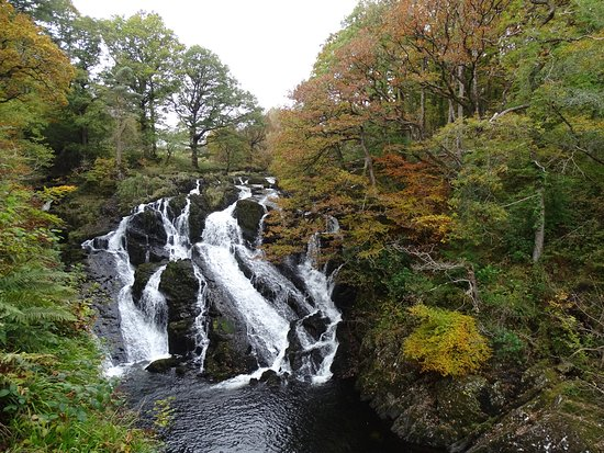"""Betws-y-Coed, UK: View from the """"upper level"""" (or from the main path, if you go straight instead of down the steps"""