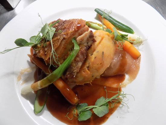 Widnes, UK: Twice Cooked Pork Belly, Baby Veg, Root Veg Mash, Apple Gel, Scrumpy Jus