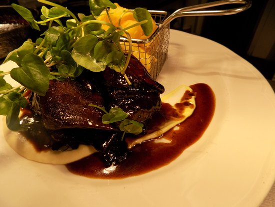 Widnes, UK: Braised Jacobs Ladder, Celeriac Puree, Parmesan & Truffle Chips, Rich Jus
