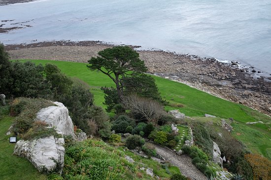Marazion, UK: View of the gardens from the castle.