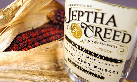 Shelbyville, KY: Jeptha Creed Moonshine and Bloody Butcher Corn.