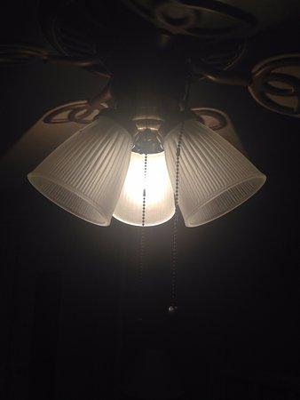 Stanley, VA: Ceiling light above bed.