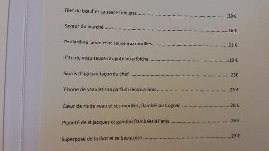 Le Coudray Montceaux, Γαλλία: Carte des plats.