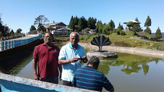 Jorepokhari Tourist Lodge: A small pond with a snake structure in the center