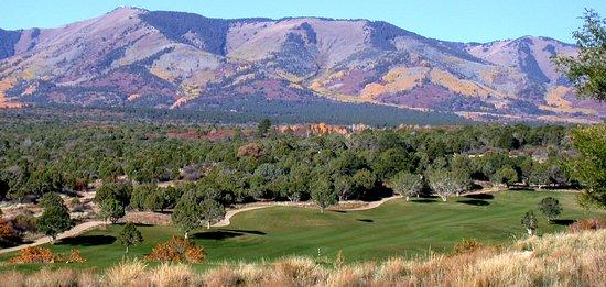 Monticello, Utah: #18 fairway and the Abajo mountains