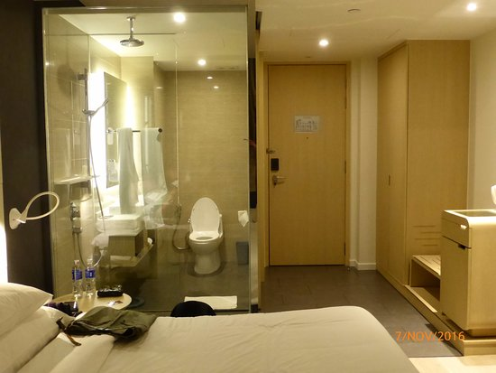 bathroom with see through glass walls - Picture of Liberty Central ...