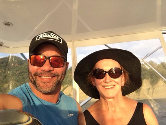 Golfo de Papagayo, Costa Rica: Me and my mother-in-law Gail showing off her Jackie O hat.